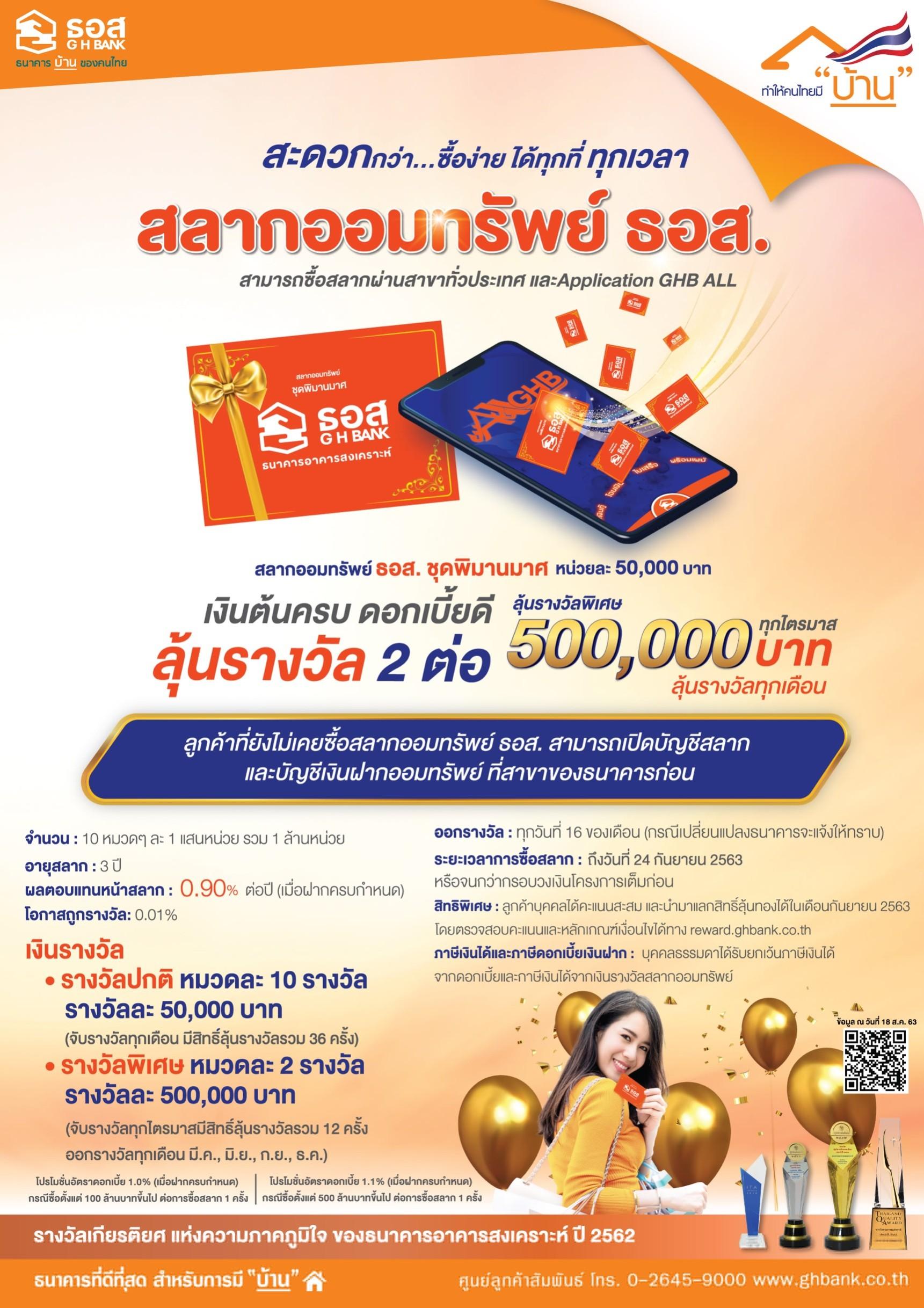 สลากออมทรัพย์ ธอส. ชุดพิมานมาศ หน่วยละ 50,000 บาท