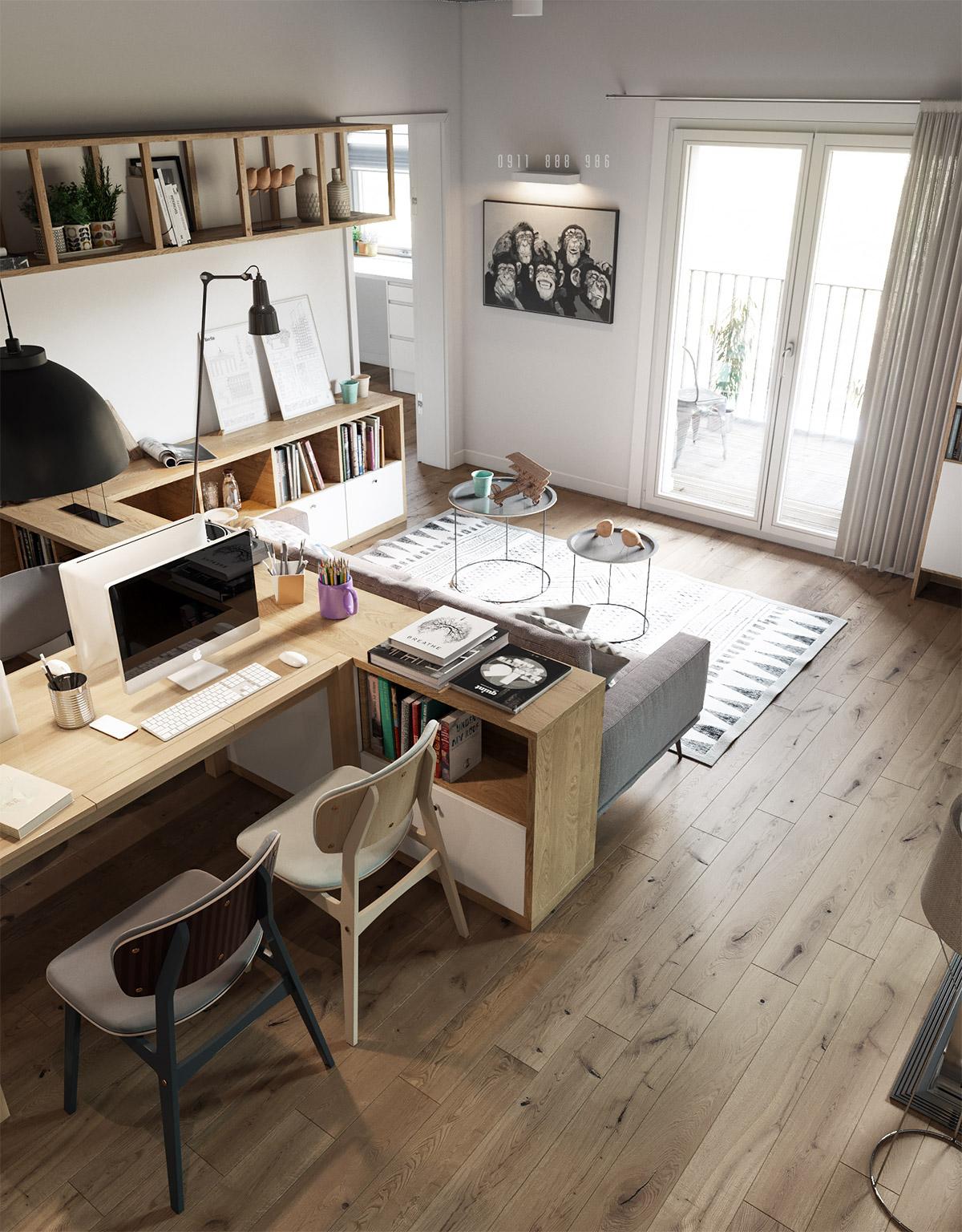 ห้องรับแขกสวยๆ แบบที่ 2 ห้องรับแขกสมัยใหม่ เน้นฟังก์ชัน นั่งทำงานได้