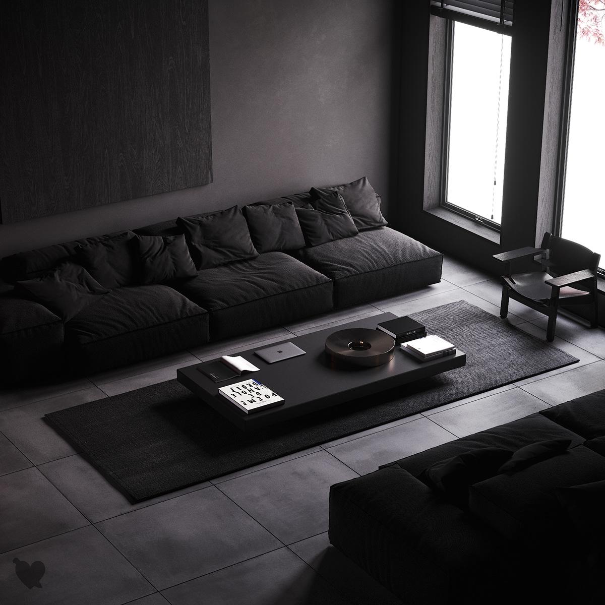 ห้องรับแขกสวยๆ แบบที่ 6 ห้องรับแขกเรียบและเท่แบบดำล้วน (All Black)