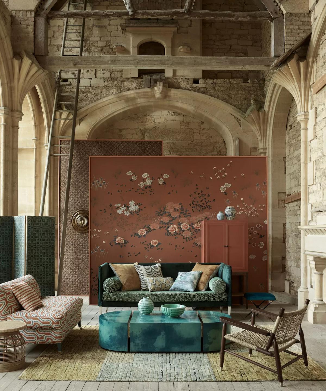 ห้องรับแขกสวยๆ แบบที่ 11 แต่งห้องรับแขกคุมโทน ที่เล่นกับพื้นผิวและลวดลาย (Texture and pattern)