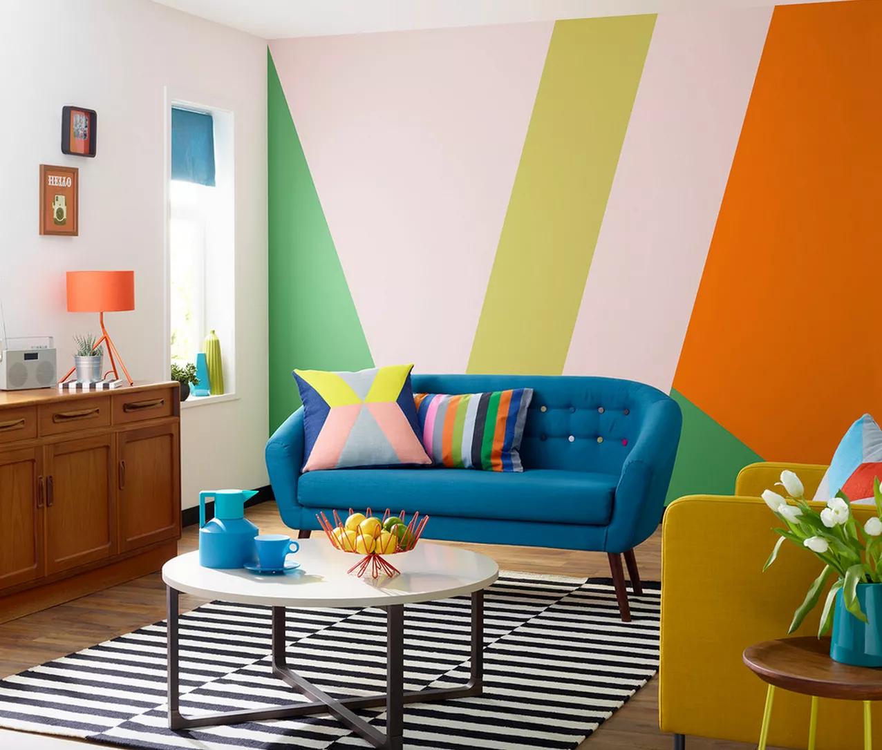 ห้องรับแขกสวยๆ แบบที่ 14 แบบห้องรับแขกหลากสีสัน สไตล์ป๊อป (Colorful Pop)